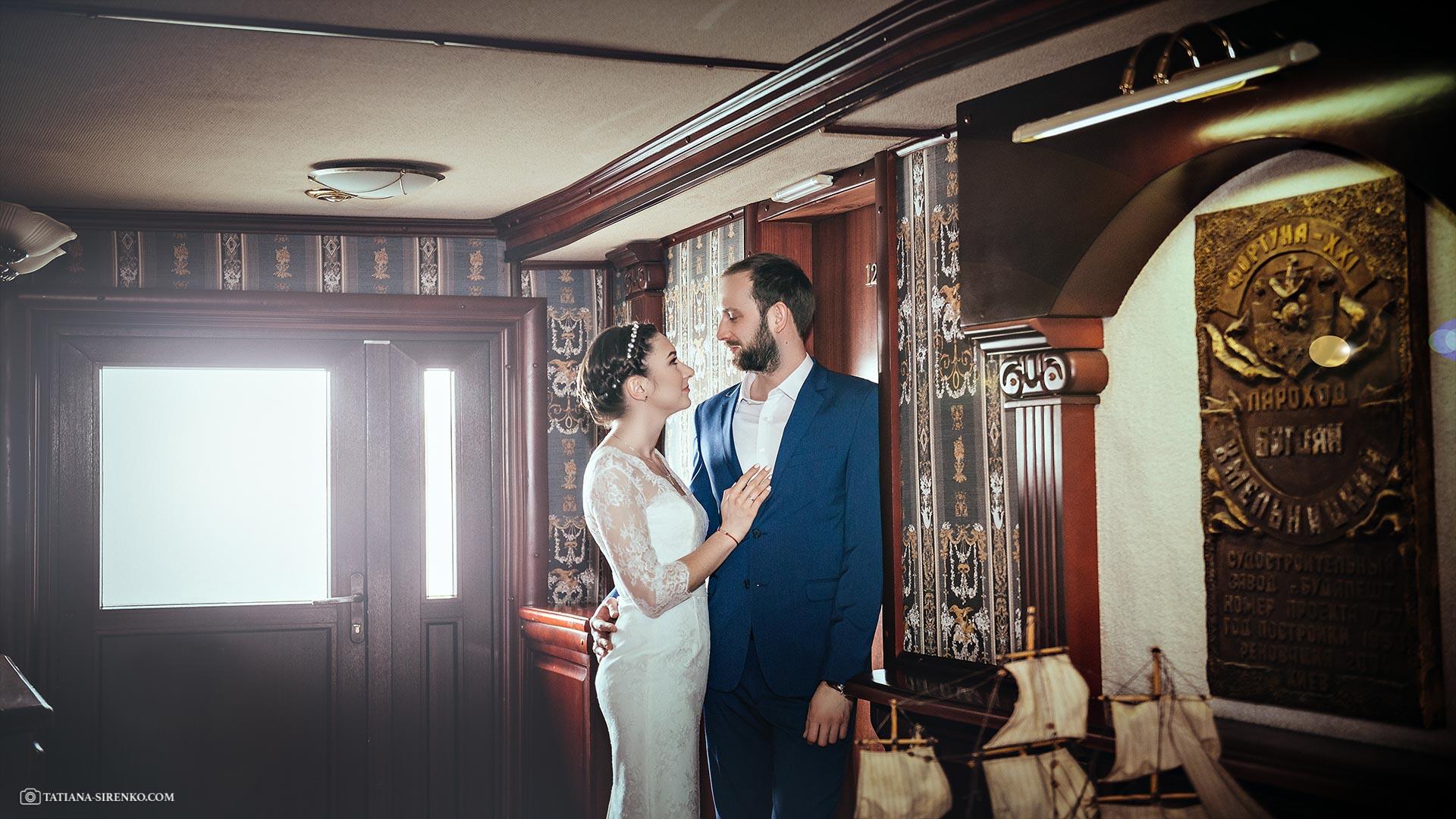 Свадебный фотосъемка на корабле
