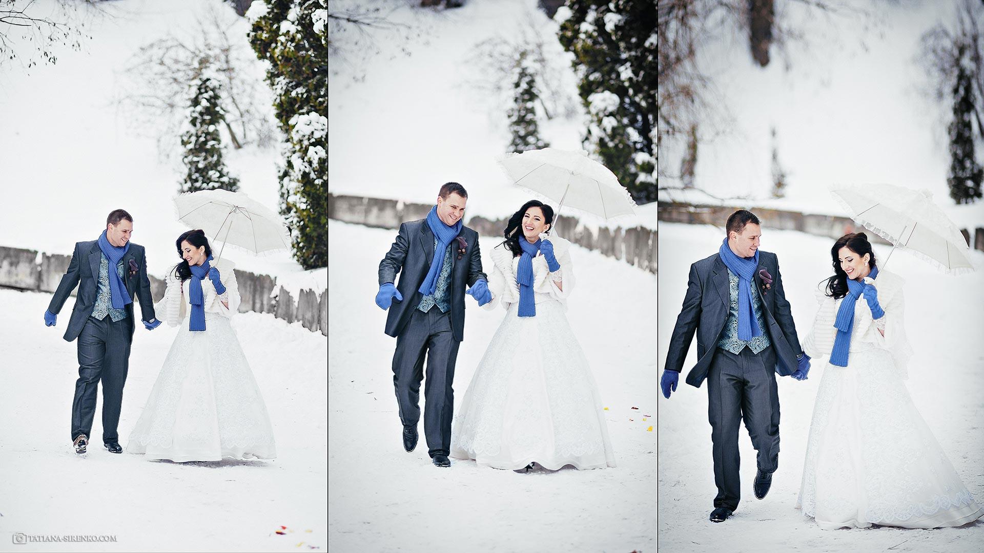 Свадебная фотосъемка зимой  Ботанический сад
